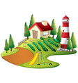 farmer house with vegetable garden and lighthouse vector image
