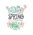 spring logo template original design with flowers vector image