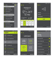 Green buttons set of mobile user interface design vector image