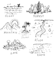 DIfferent hand drawn nature landscapes vector image