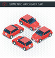 isometric hatchback car vector image vector image