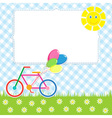 Frame with cute bike vector image vector image