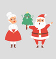 christmas santa claus and wife character vector image