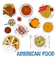American fast food and grilled dishes sketch icon vector image