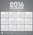 Calendar 2016 gray color tone background design vector image