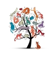 Cats tree childish style Sketch for your design vector image