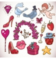 Doodle cartoon love collection vector image