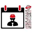 Engineer Calendar Page Flat Icon With Bonus vector image