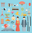 flat japan icons and symbols set on japanese theme vector image