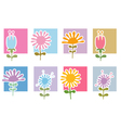 Retro Flowers Icons vector image