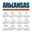 2017 Arkansas Calendar vector image vector image