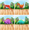 Scenes with many dinosaurs vector image