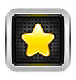 square chrome metal button with yellow star icon vector image