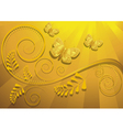 Gold butterfly on yellow radiant background vector image