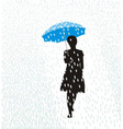 Woman in the rain vector image