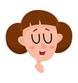 pretty brown hair woman laughing facial vector image