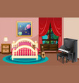 bedroom scene with piano and bed vector image vector image