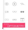 black optometry icons set vector image