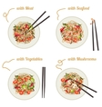 Noodles on plate vector image