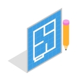 Flat project and pencil icon isometric 3d style vector image