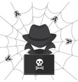 a hacker in a hat with a laptop bugs attack vector image