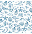 blue line seamless pattern of seashells vector image