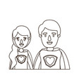 sketch contour caricature half body young couple vector image