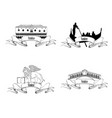 venice landmarks travel italy symbol sign city vector image