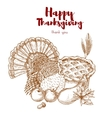 Thanksgiving holiday sketch turkey pie harvest vector image