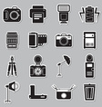 Camera and accessory icon sticker set vector image