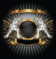 Tiger gold emblem vector image vector image