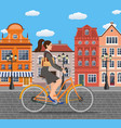 business lady riding on a cruiser bicycle vector image