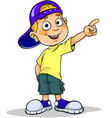 Boy pointing away vector image
