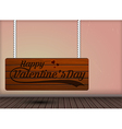 Happy valentine day on Wooden Hanging signs design vector image