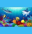 Beautiful underwater world with corals vector image