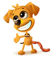 funny yellow puppy hides sausages vector image