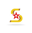 Letter S with star in a center logo vector image