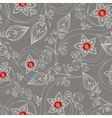 Seamless pattern with flowers doodles and rubies vector image