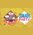 summer party vacation sea travel retro banner vector image