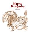 Thanksgiving holiday sketch turkey pie harvest vector image