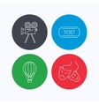 Video camera ticket and theatre masks icons vector image