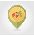 Rosehip branch with red berries flat pin map icon vector image