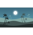 At night seaside scenery with palm vector image