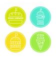 Vegan food badges Burgers pizza sandwich vector image vector image