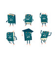 set of funny book characters mascots cartoon vector image
