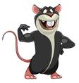 cartoon smiling big gray rat in a bodybuilder pose vector image