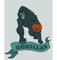 Gorilla basketball club emblem vector image