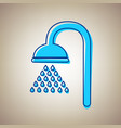 shower sign sky blue icon with defected vector image