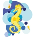 Yellow seahorse in stylized sea vector image