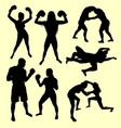 fighting male and female sport silhouette vector image